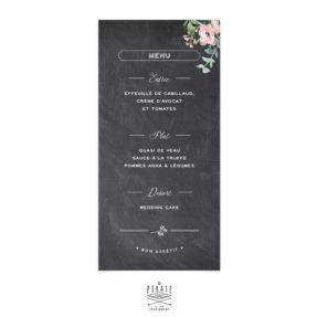 Menu mariage ardoise vintage personnalisé. Menu ardoise et fleurs rétro - La Pirate