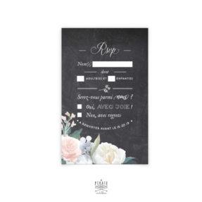 RSVP Mariage ardoise et fleurs à personnaliser pour votre mariage rétro. Sur fond ardoise, carton réponse vintage orné de fleurs délicates peintes à l'aquarelle