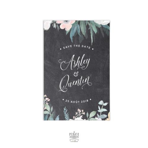 Save The Date Mariage Ardoise, calligraphie et Fleurs Aquarelles à personnaliser