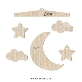 Mobile bébé Lune en bois, personnalisé avec le prénom de votre enfant