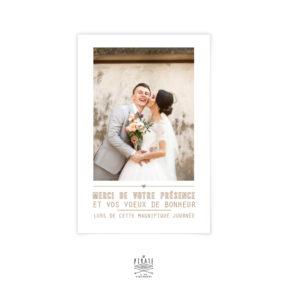 Carte de remerciements mariage champêtre personnalisée avec votre photo au recto, couronne olivier champêtre, Provence