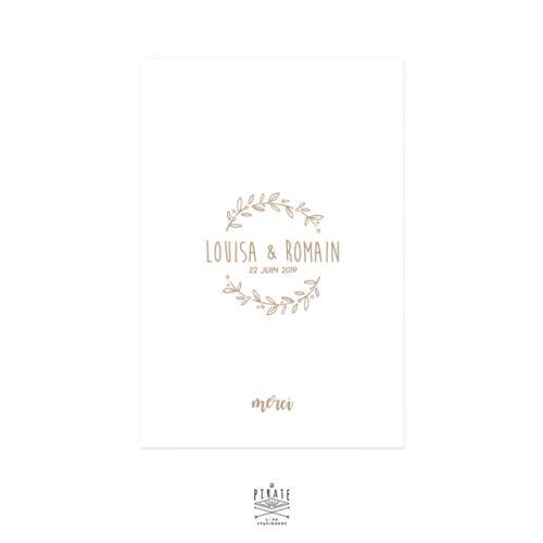 Carte de remerciements mariage champêtre personnalisée recto/verso, couronne olivier champêtre, Provence