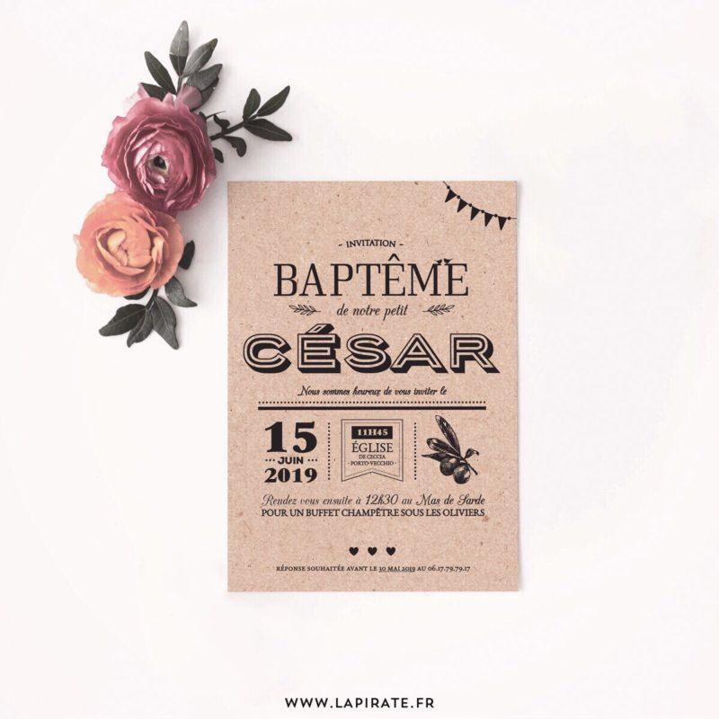 Papeterie de baptême, invitations et déco personnalisées