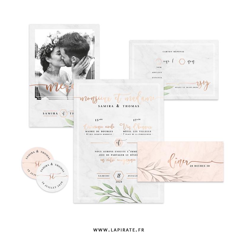 Papeterie mariage eucalyptus et texte cuivre Alba, à personnaliser pour votre mariage chic & élégant. Fond marbre blanc ou rose, texte dorure cuivrée - La Pirate