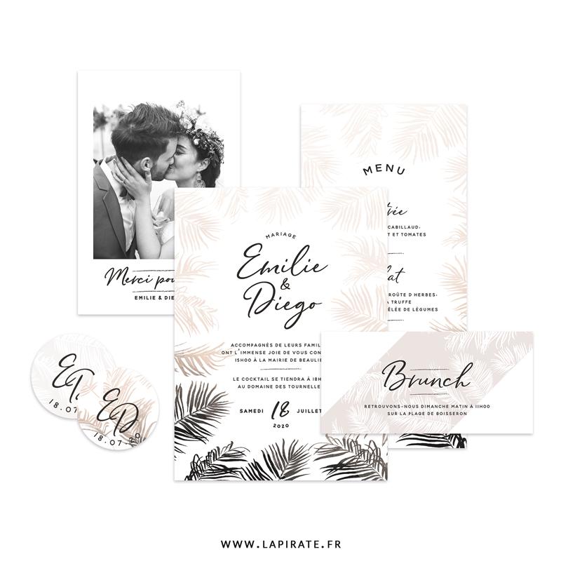Papeterie mariage Pampa, d'inspiration bohème, végétale et sauvage, pour créer une belle harmonie dans la papeterie et déco votre mariage Pampa bohème