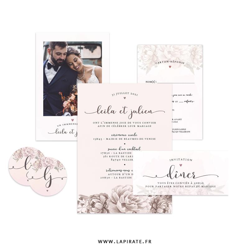 Papeterie mariage aquarelle à personnaliser pour votre mariage romantique et vintage, fond aquarelle - La Pirate