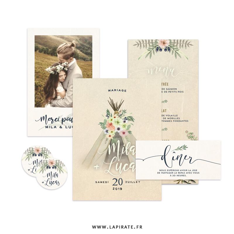 Papeterie mariage bohème, illustrée d'un tipi, composition florale, esprit Folk Boho - La Pirate