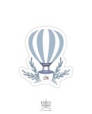 Stickers naissance personnalisé montgolfière bleue