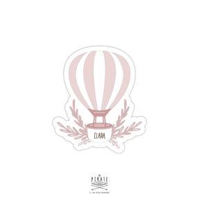 Stickers naissance personnalisé avec le prénom de bébé, montgolfière rose