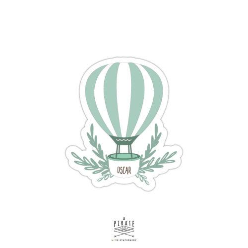 Stickers naissance personnalisé avec le prénom de bébé, montgolfière verte