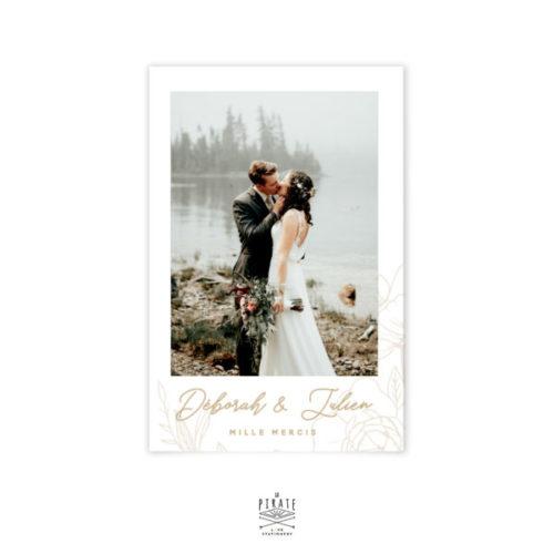Carte remerciements mariage bohème et floral, personnalisée avec la photo des mariés - Collection mariage bohème Kamélia