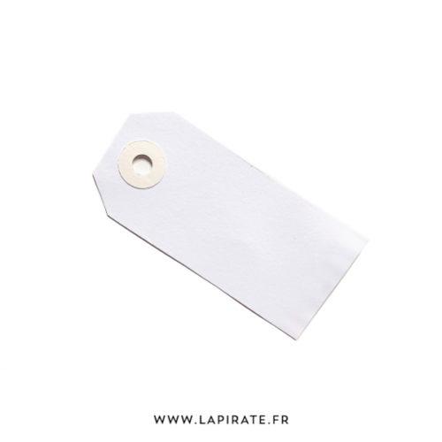 Etiquettes américaines blanches, mariage, oeillet beige. Format 8 x 3,8 cm