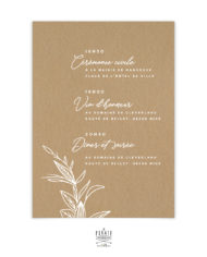 Faire-part mariage bohème et fleuri, papier kraft imprimé en blanc – verso