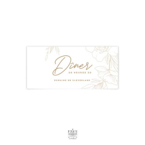 Invitation repas mariage bohème et fleuri, collection Kamélia