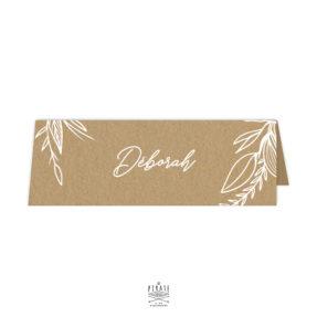 Marque-places cavalier personnalisés mariage bohème, kraft et blanc - Couronne florale - Collection Kamélia
