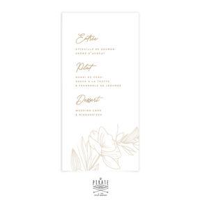 Menu mariage bohème, menu mariage couronne florale délicate, collection Kamélia - La Pirate