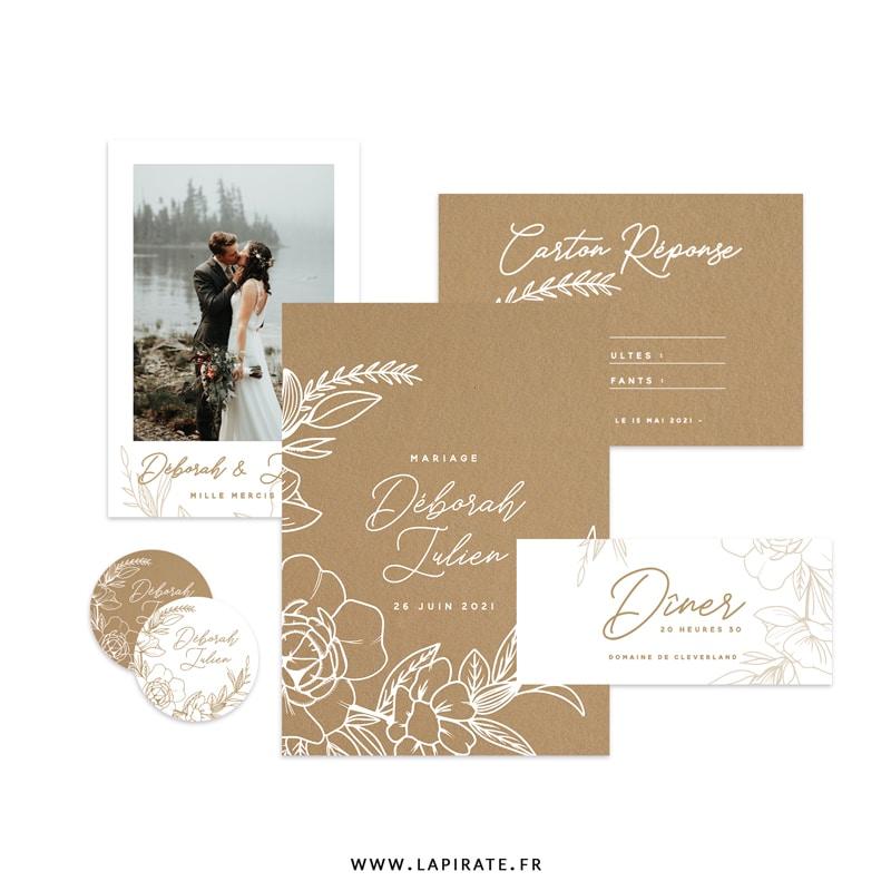 Papeterie mariage bohème, imprimée en blanc sur un beau papier kraft recyclé. Thème mariage bohème et fleuri, papeterie Kamélia