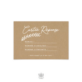 RSVP mariage bohème, imprimé en blanc sur papier kraft - Collection Kamélia