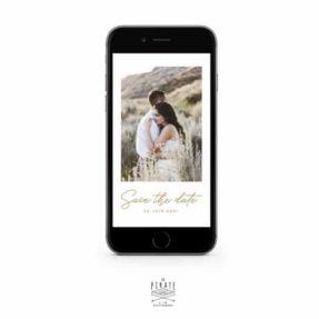 Save the date électronique mariage bohème personnalisé avec photo et date du mariage, collection Camélia