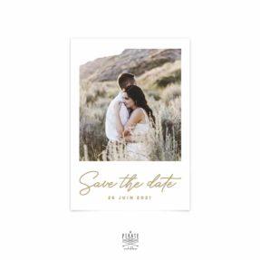 Save the date mariage bohème personnalisé avec photo et date du mariage, collection Kamélia