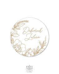 Stickers rond mariage bohème blanc et couronne de fleurs