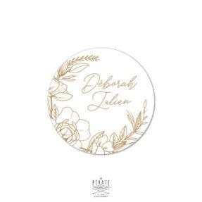 Stickers rond mariage bohème blanc et couronne de fleurs, collection Kamélia - La Pirate