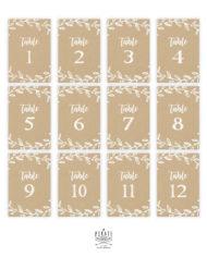 Lot 12 cartes numéros de table kraft champêtre à personnaliser en ligne