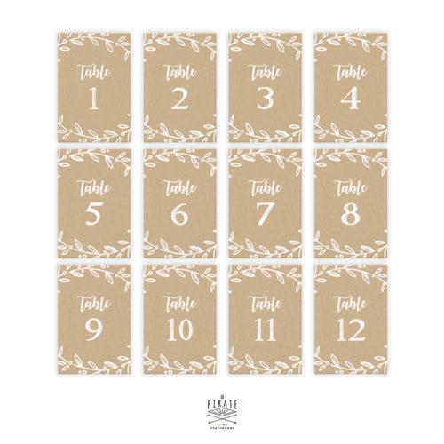 Lot 12 cartes numéros de table kraft champêtre à personnaliser