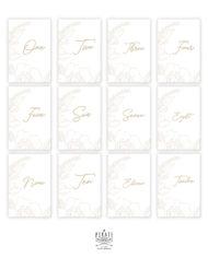 Lot 12 cartes numéros de table en anglais, bohème à personnaliser en ligne