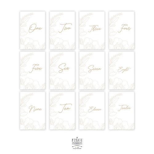 Lot 12 cartes numéros de table en anglais, bohème à personnaliser