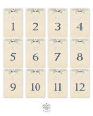 Lot 12 cartes numéros de table bohème folk à personnaliser en ligne