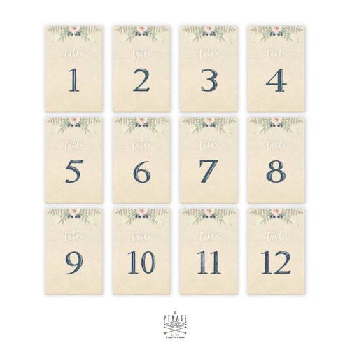 Lot 12 cartes numéros de table bohème folk à personnaliser