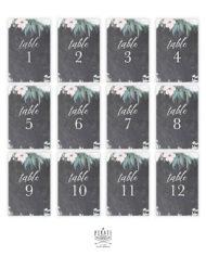 Lot 12 cartes numéros de table ardoise vintage à personnaliser en ligne