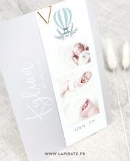 Faire-part naissance montgolfière verte, calque et photos bébé