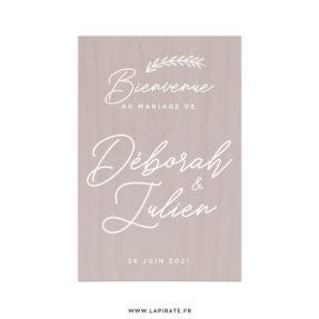 Stickers bienvenue bohème personnalisé avec vos prénoms calligraphiés et la date du mariage, thème bohème, collection Kamélia