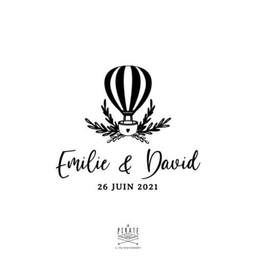 Tampon mariage montgolfière personnalisé de vos prénoms et date, thème voyage et note végétale - La Pirate