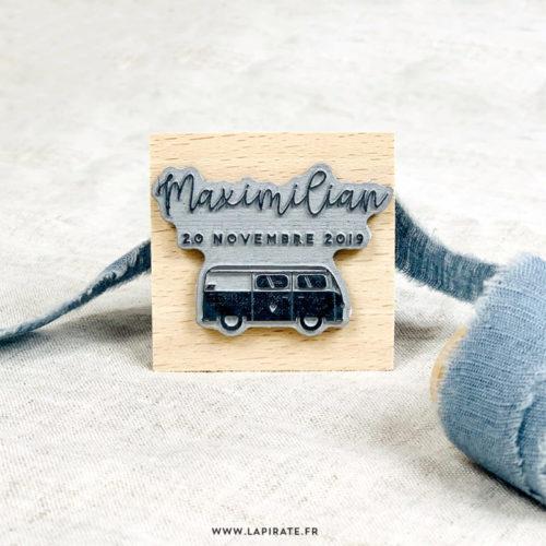 Tampon naissance van, mini van, voiture personnalisé du prénom et date de naissance de votre enfant