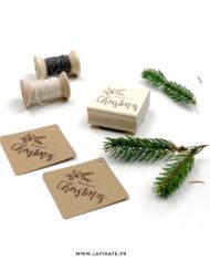 Tampon Noël «Merry Christmas» en bois