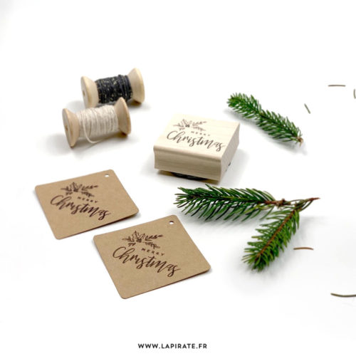 "Tampon Noël ""Merry Christmas"" en bois, diy, wrapping, cadeaux"