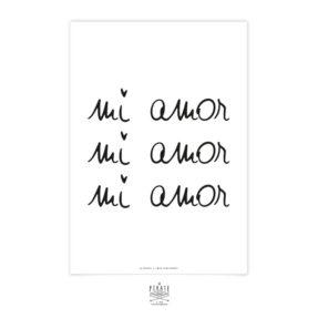 Affiche déco Mi Amor, manuscrit et monochrome pour créer un mur de cadre minimaliste et original
