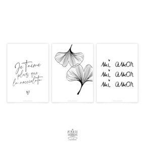 Lot de 3 cartes Saint-Valentin, calligraphiées à la main. Edition limitée pour la Saint-Valentin