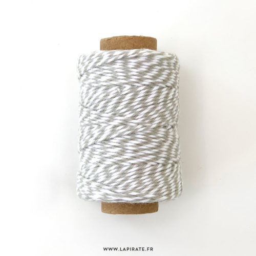 Baker twine bicolore taupe et blanc pour votre papeterie, 45 m