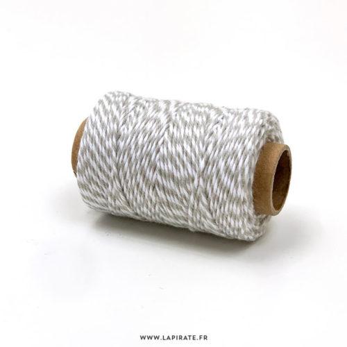 Ficelle taupe blanc, baker twine bicolore pour nouer vos invitations avec élégance - longueur 45m
