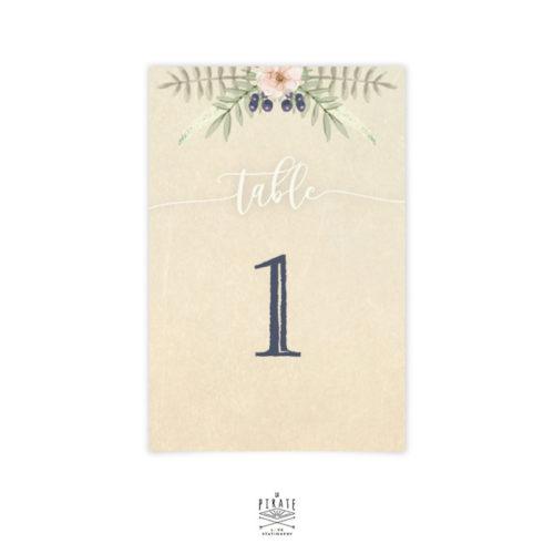 Numéro de table mariage folk bohème, floral boho, tipi - La Pirate