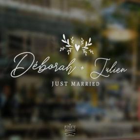 """Stickers voiture mariage bohème calligraphie, personnalisé de vos prénoms et texte """"Just married"""" - La Pirate"""