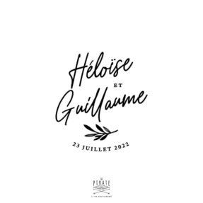 Tampon mariage calligraphie botanique, personnalisé avec vos prénoms et la date de votre union | Collection Blossom
