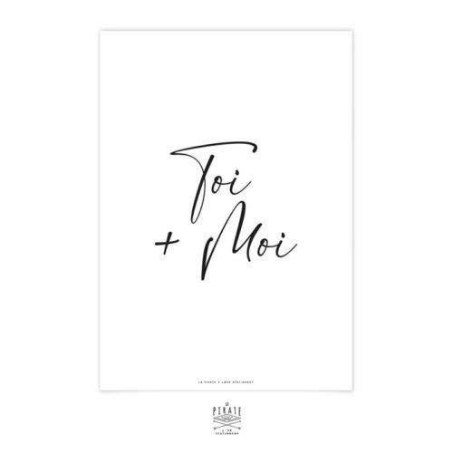 Affiche déco Toi+Moi, manuscrite, minimaliste et monochrome. Affiche Toi et moi, toi plus moi