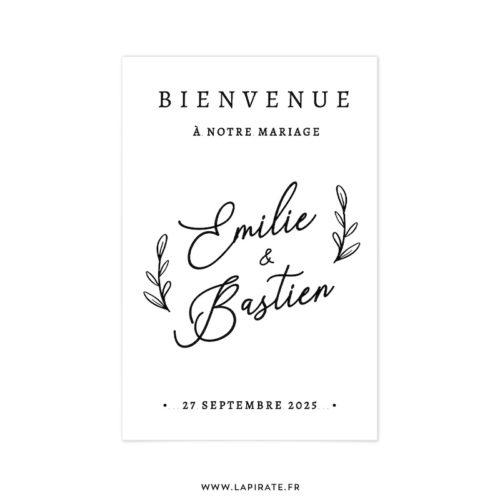 Stickers Bienvenue au mariage Calligraphie, branches végétales | Love and bloom