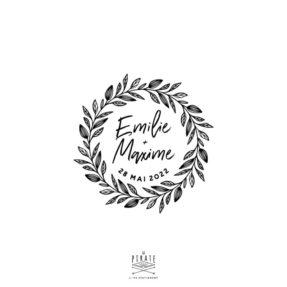 Tampon mariage couronne de feuilles, personnalisé avec vos prénoms police manuscrite