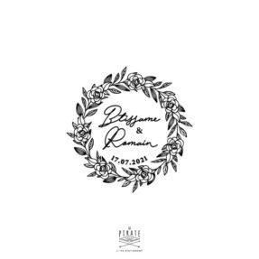 Tampon mariage couronne de roses personnalisé de vos prénoms avec une fine calligraphie - La Pirate
